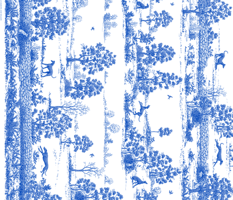 Bright Indigo Blue Greyhound Toile Panel/Border ©2010 by Jane Walker