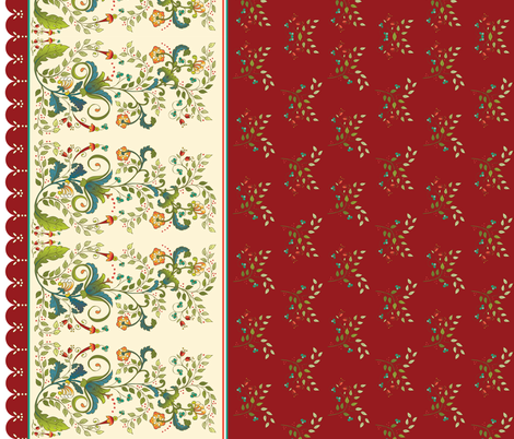 Christmas Floral Border-burgundy fabric by leslipepper on Spoonflower - custom fabric