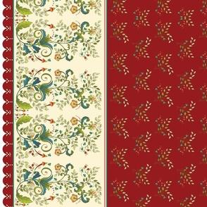 Christmas Floral Border-burgundy