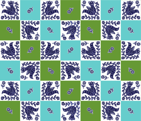 BlueBirdSQ fabric by yellowstudio on Spoonflower - custom fabric