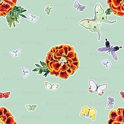 Moths and Marigolds - Light Aqua Blue