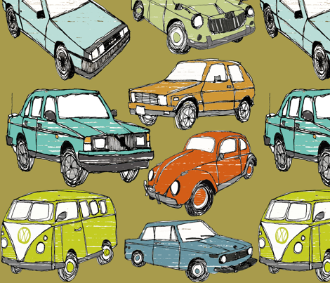 Awesome Cars Fabric - Brown