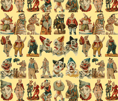 vintage circus clowns on cream background fabric by olivemlou on Spoonflower - custom fabric