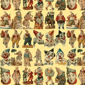 vintage circus clowns on cream background