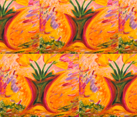 Yellow tulips fabric by sherryann on Spoonflower - custom fabric