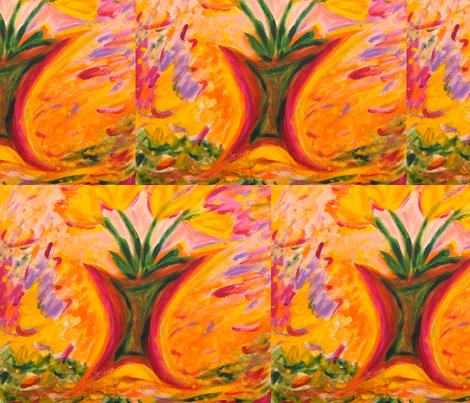 Yellow tulips fabric by sherryann on Spoonflower - custom fabric