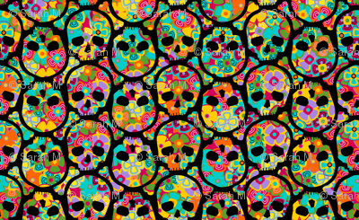 Day of the Dead flowered skull black on multi