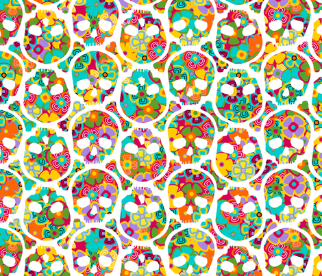 Day of the Dead flowered skull white on multi fabric by thirdhalfstudios on Spoonflower - custom fabric