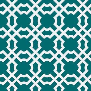 Geo Tile - Turquoise & White