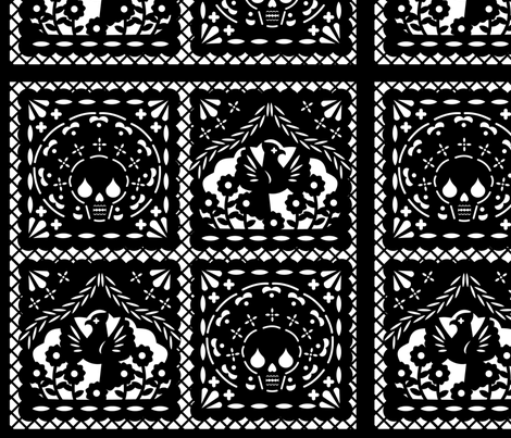 Papel Picado black on white ground fabric by thirdhalfstudios on Spoonflower - custom fabric