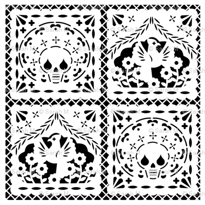 Papel Picado white on black ground