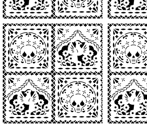 Papel Picado white on black ground fabric by thirdhalfstudios on Spoonflower - custom fabric