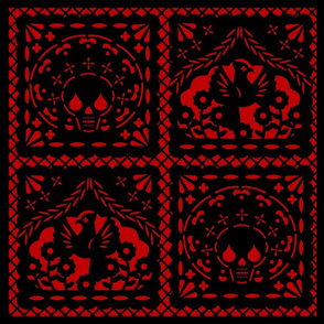 Papel Picado black on red ground