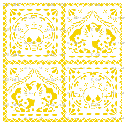 Papel Picado white on yellow ground
