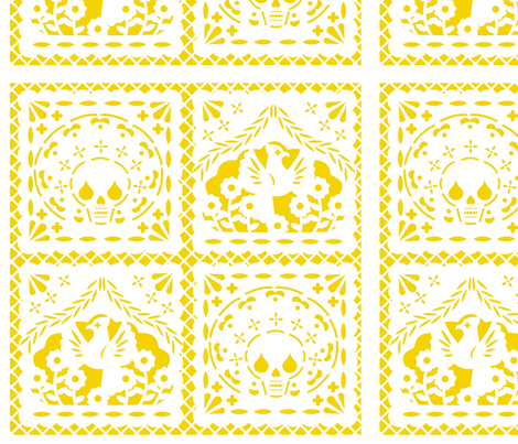 Papel Picado white on yellow ground fabric by thirdhalfstudios on Spoonflower - custom fabric