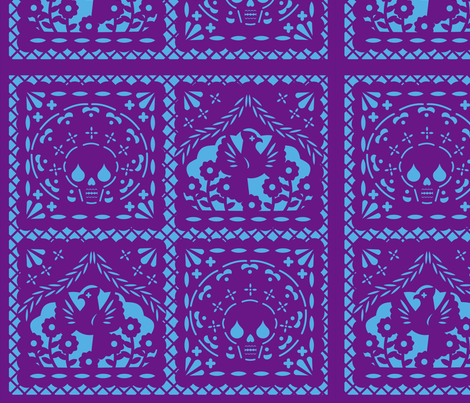 Papel Picado purple on blue ground fabric by thirdhalfstudios on Spoonflower - custom fabric