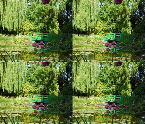 Footbridge at Giverny fabric by susaninparis on Spoonflower - custom fabric