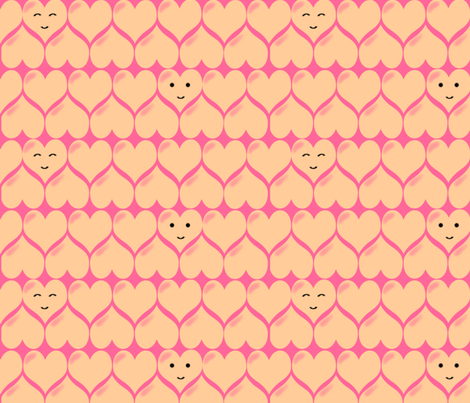 kawaii_hearts_in_pink-ed fabric by hannak on Spoonflower - custom fabric