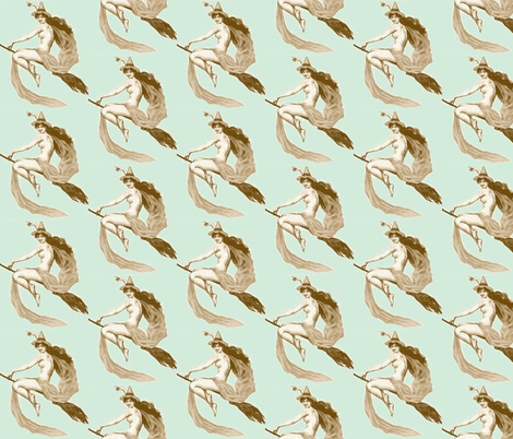 vintage victorian witch brown on light blue fabric by olivemlou on Spoonflower - custom fabric