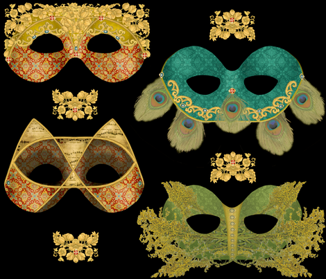 Venetian Masques fabric by artandwords on Spoonflower - custom fabric