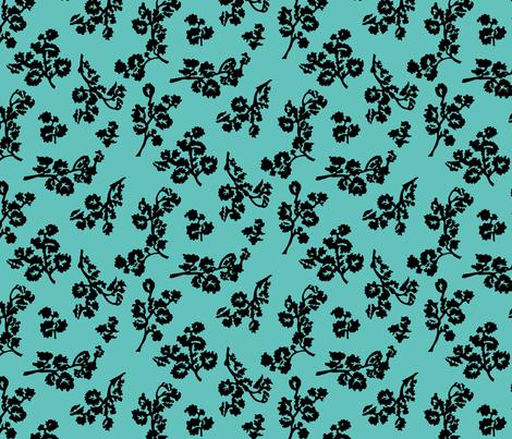 ShadowFoliage-Aqua fabric by ashland_house_designs on Spoonflower - custom fabric