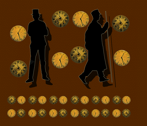 Steampunk Silhouette Smart Bag fabric by katsanders on Spoonflower - custom fabric