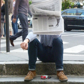 Newspaper Guy, sideways