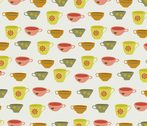 teacups fabric by troismiettes on Spoonflower - custom fabric