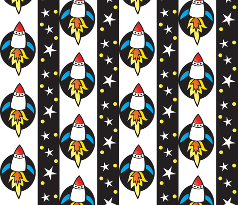 Rockets and Stars fabric by tessiegirldesigns on Spoonflower - custom fabric