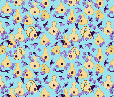 Purple_Martins_and_Gourds fabric by jumping_monkeys on Spoonflower - custom fabric