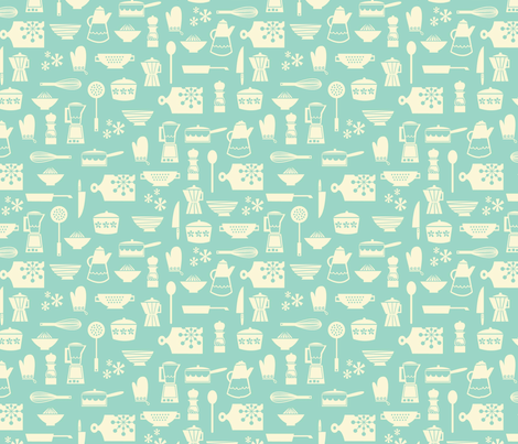 kitchen culture aqua fabric by amel24 on Spoonflower - custom fabric