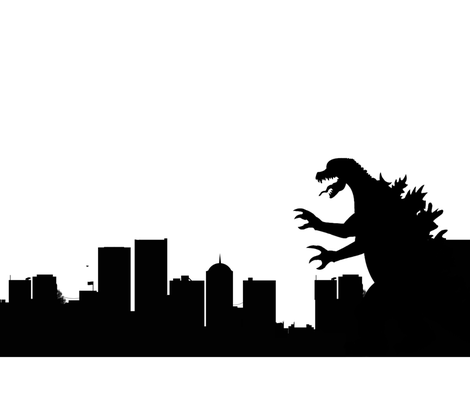 Godzilla fabric by anneleukocyte on Spoonflower - custom fabric