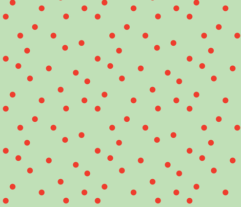 polka-dots mint&tomato fabric by heatherrothstyle on Spoonflower - custom fabric