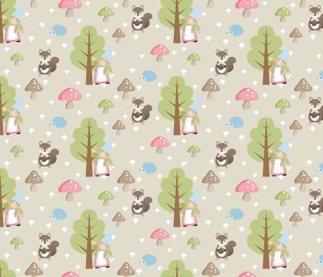 Woodland Friends - Pink fabric by inktreepress on Spoonflower - custom fabric