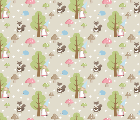 Woodland Friends - Pink fabric by inktreepress on Spoonflower - custom fabric