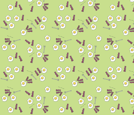 Bacon and Eggs fabric by lisaorgler on Spoonflower - custom fabric