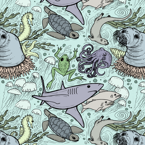 Marine life -- blue fabric by keskha on Spoonflower - custom fabric