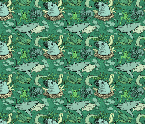 Marine life -- green fabric by keskha on Spoonflower - custom fabric