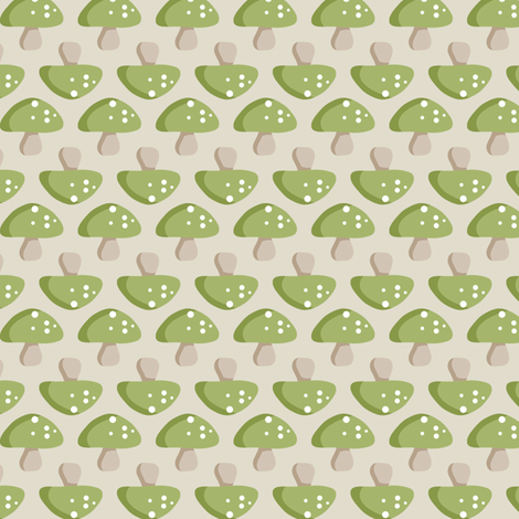 Woodland Mushroom - Green fabric by inktreepress on Spoonflower - custom fabric