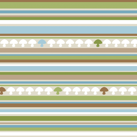 Woodland Mushroom Stripe - Blue fabric by inktreepress on Spoonflower - custom fabric