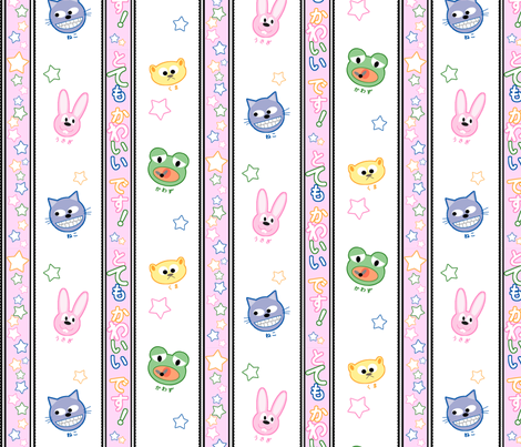 Kawaii Animals and Stars fabric by mondkanikel on Spoonflower - custom fabric