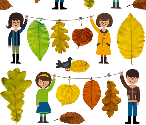 collecting leaves fabric by nadjagirod on Spoonflower - custom fabric