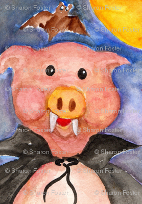 Vampire Pig Watercolor