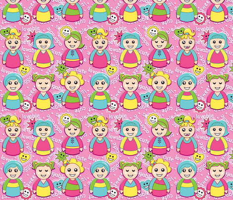 CUTE GIRLS fabric by tgraphics on Spoonflower - custom fabric