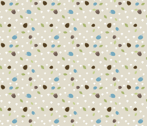 Woodland Friends - Hedgehogs on cream fabric by inktreepress on Spoonflower - custom fabric