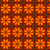 Moon Flower Orange/Yellow on Brown