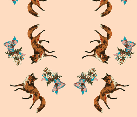 fox_and_bow_print-ch-ch-ch fabric by relicfawn on Spoonflower - custom fabric