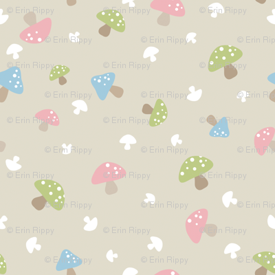 Woodland Mushroom - Pink on cream