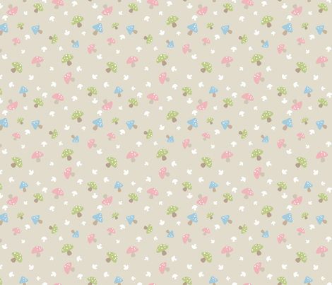 Woodland Mushroom - Pink on cream fabric by inktreepress on Spoonflower - custom fabric