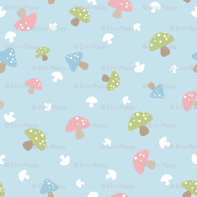 Woodland Mushroom - Pink on blue